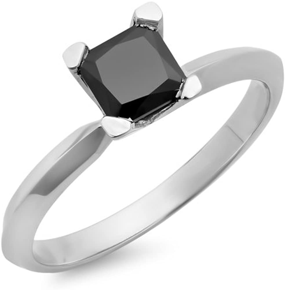 Dazzlingrock Collection 1.00 Carat (ctw) Black Diamond Solitaire Bridal Engagement Ring 1 CT, Sterling Silver