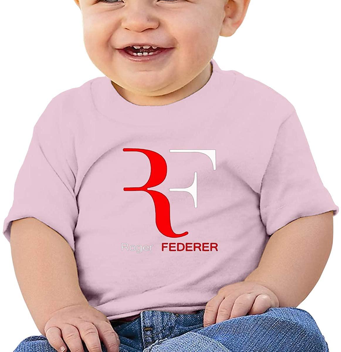 6-24 Months Boy and Girl Baby Short Sleeve T-Shirt Roger Federer Elegant and Simple Design Pink