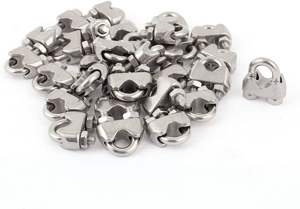 4mm 1/6 Inch Stainless Steel Wire Rope Cable Clamp Clips 30pcs