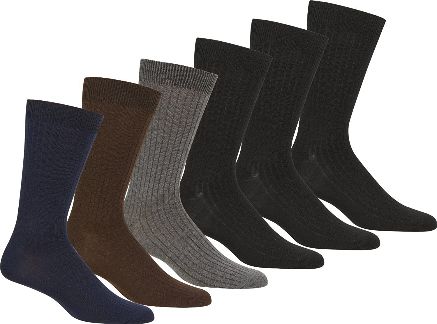 Womens Cotton Blend Ribbed Dress Socks Value Assorted 6-Pack