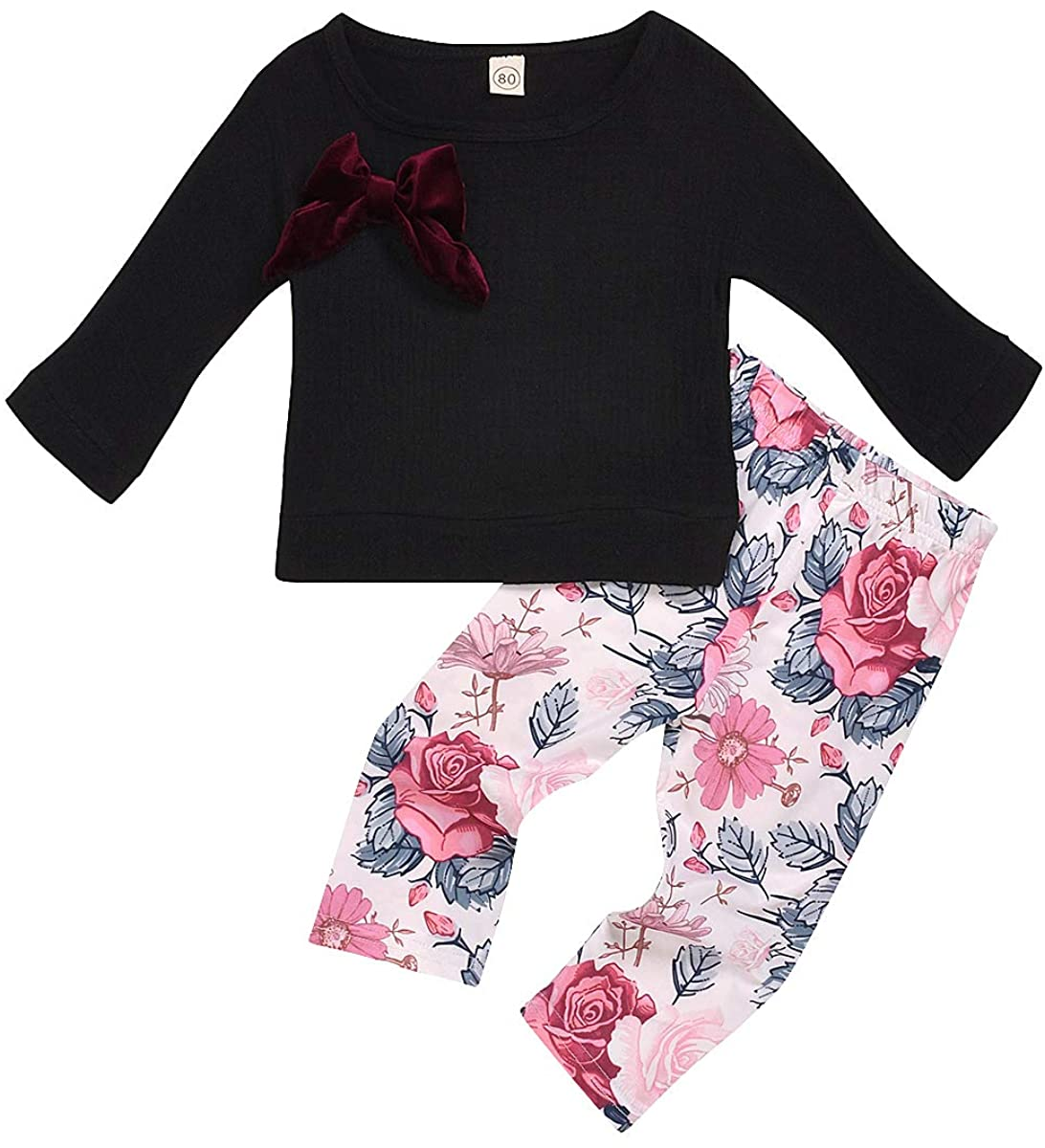 Toddler Baby Girls Outfits Set Cotton Linen Bow T-Shirt Tops + Flowers Pants 2pc Clothes Set