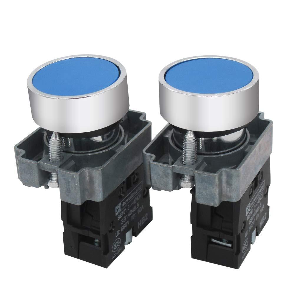 mxuteuk 2pcs 1 NO 22mm Blue Momentary Push Button Switch 660V 10A SPST,1 Year Warranty HB2-BA61-LL