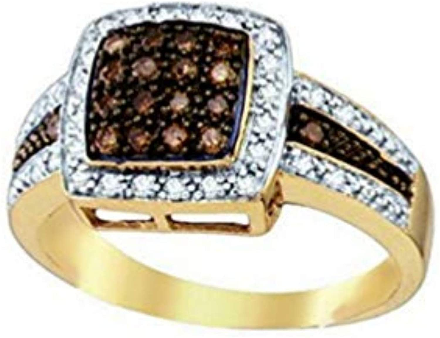 Brandy Diamond 14K Yellow Gold Chocolate Brown Princess Queen Bee Cocktail Ring 1/2 Ctw.