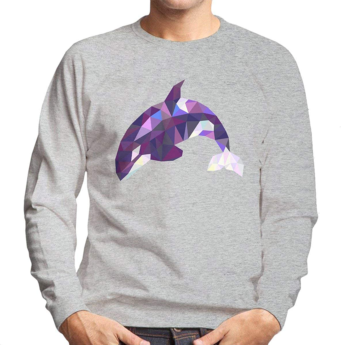 Geometric Animal Killer Whale Orca Men's Sweatshirt