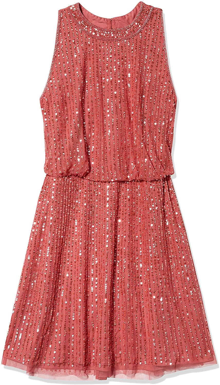 Adrianna Papell Womens Beaded Blouson Halter Dress
