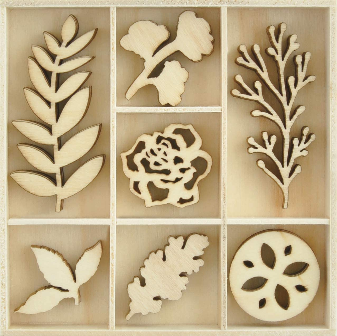 Kaisercraft Themed Mini Wooden Flourishes 35/Pkg-Nature