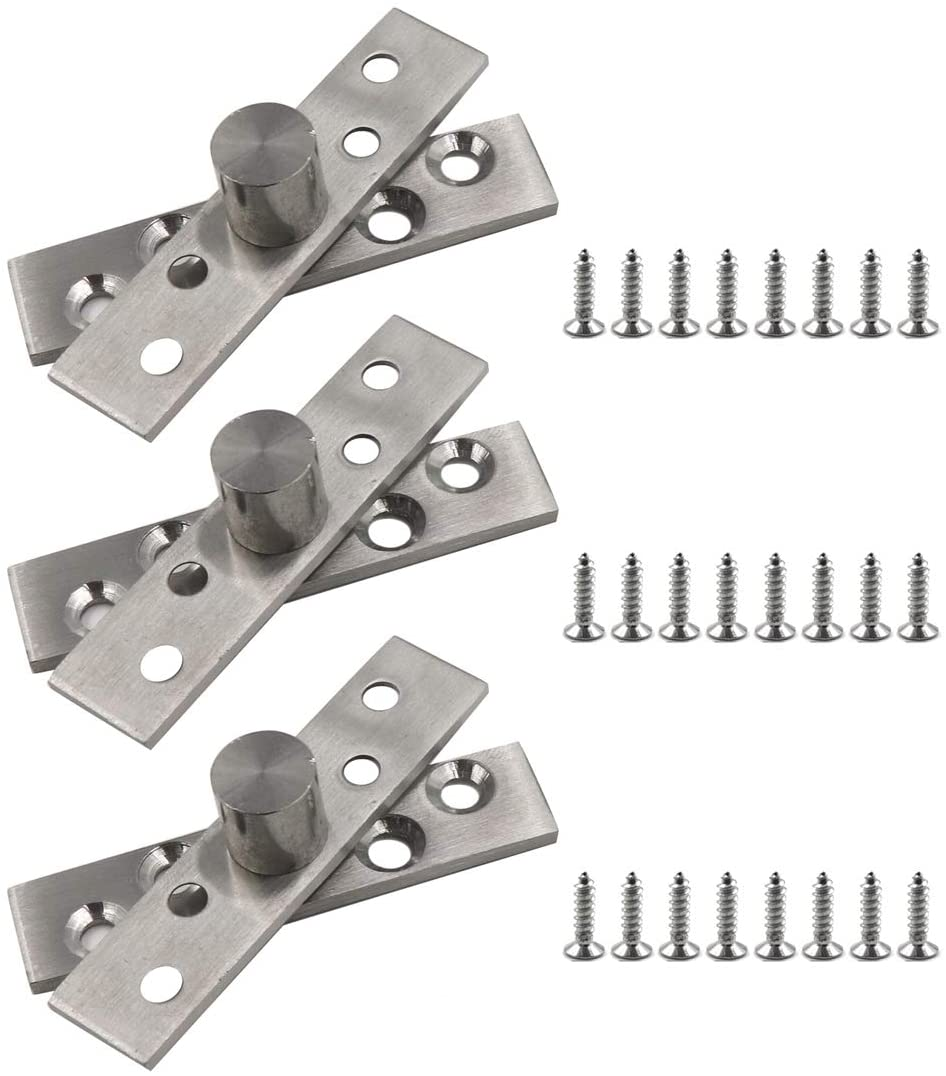 TOUHIA 3 Sets 3-Inch Length Door Pivot Hinges 360 Degree Rotation Stainless Steel Brushed Nickel