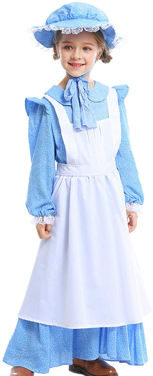 A&J DESIGN Kids Girls Pioneer Costume Colonial Prairie Dress with Hat