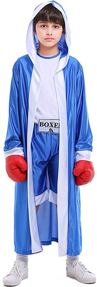 Kids Boys Boxing Costume Red Blue Boxer Cosplay with Boxing Gloves Robe Halloween Party Dress Decoration Role Playing Uniform Carnival (Blue, S)