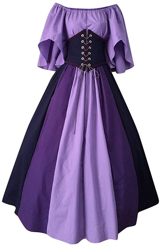 Forthery-Women Halloween Dress, Renaissance Medieval Irish Costume Over Dress and Pure White