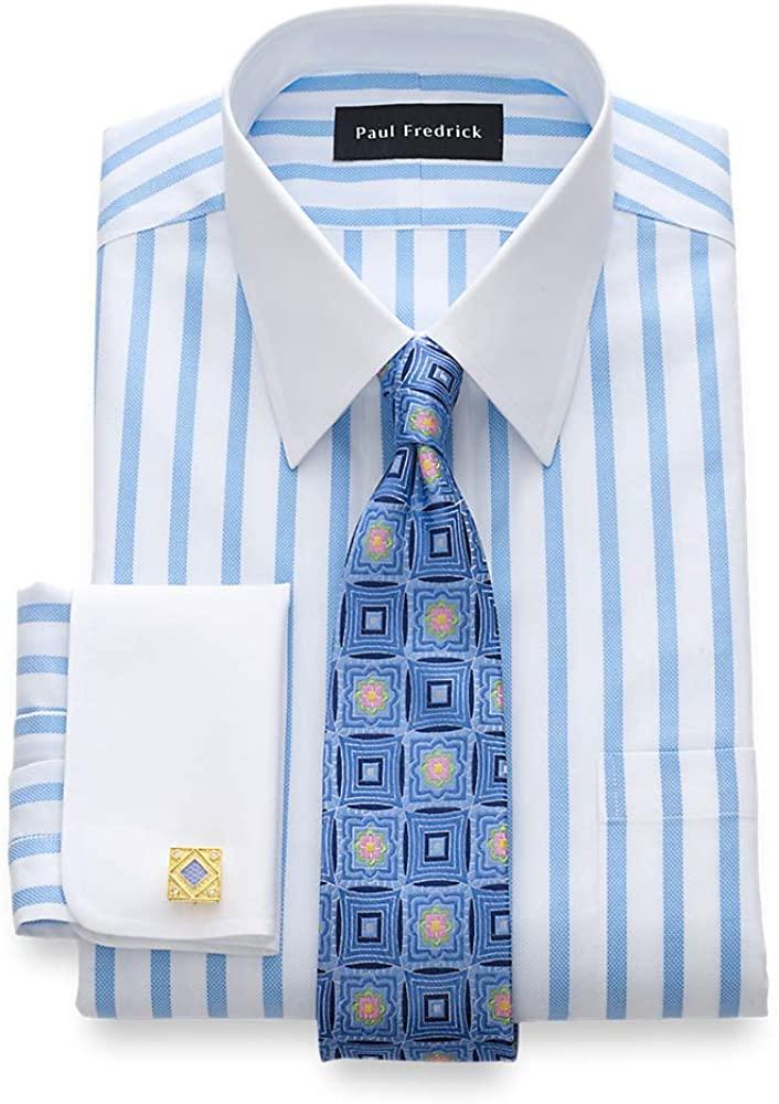 Paul Fredrick Men's Tailored Fit Impeccable Non-Iron Cotton Stripe Dress Shirt