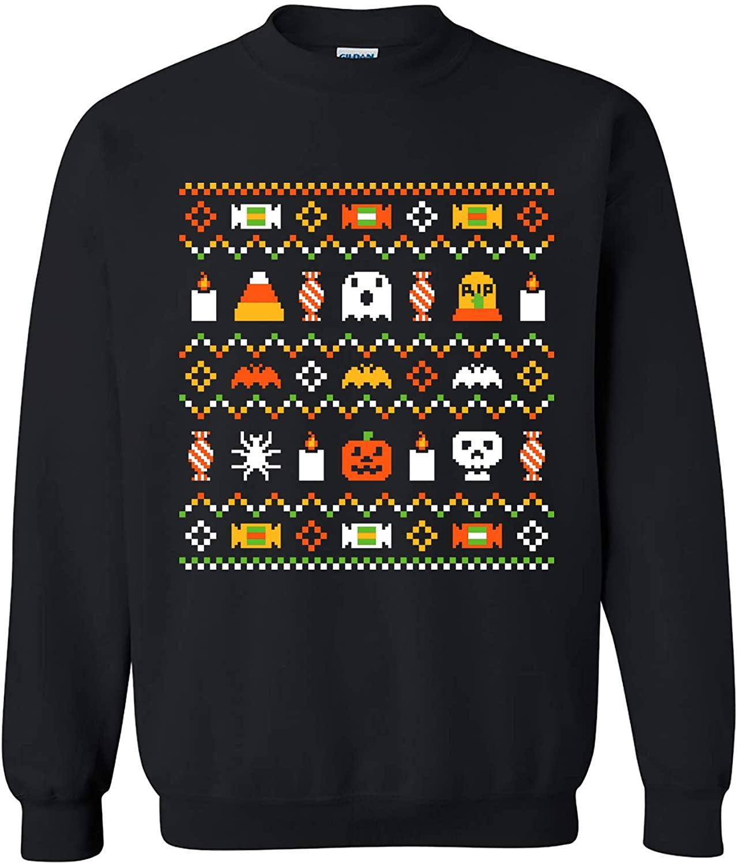 UGP Campus Apparel Halloween Ugly Sweater - Funny Spooky Halloween Costume Crewneck Sweatshirt