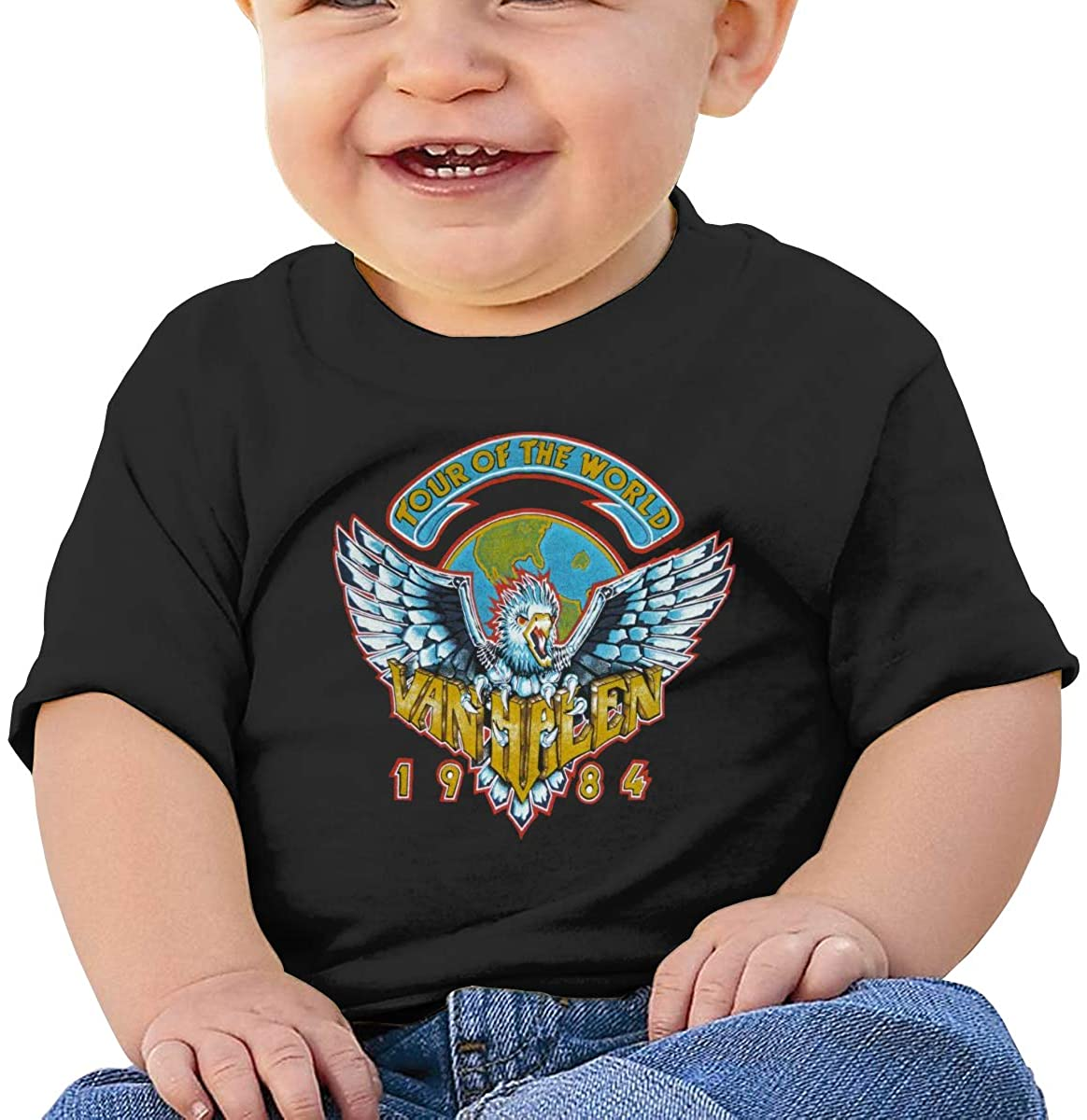 Joseph E Hinton 1984 Band 6 Months Baby Casual Fashion Short Sleeve T-Shirt Printing Design Baby Tee Black