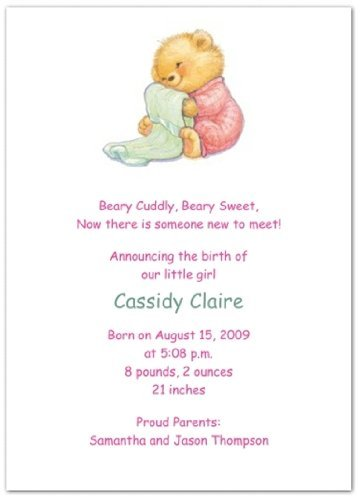 Soft & Cuddly with Pink PJs Birth Announcements - Set of 20