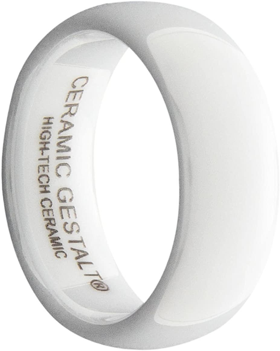 GESTALT COUTURE White Ceramic Ring 8mm Width. Domes & Polished Design. Comfort Fit.