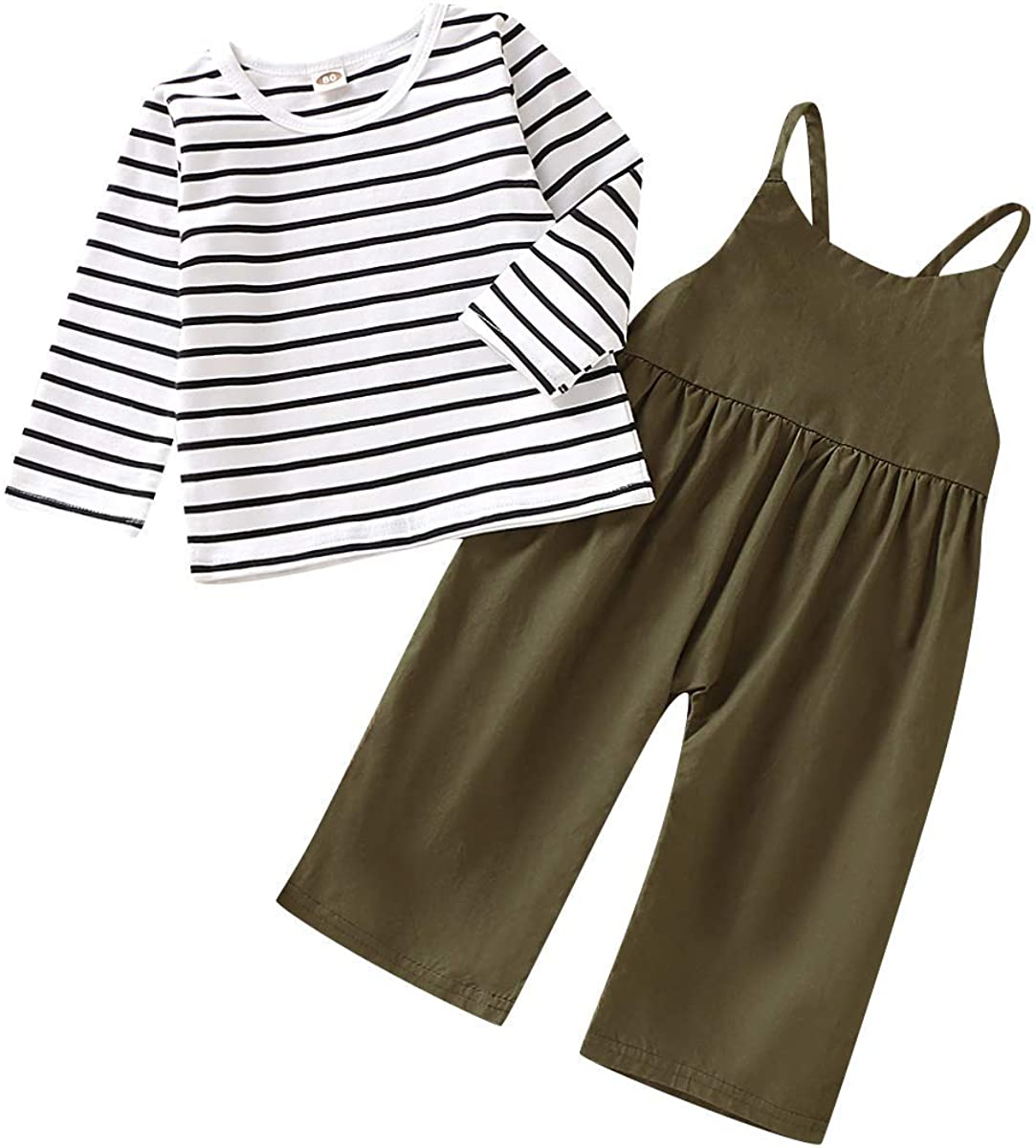 Toddler Baby Girl Summer Clothes Long Sleeve Stripe Top + Strap Overalls Loose Jumpsuit Outfits Set