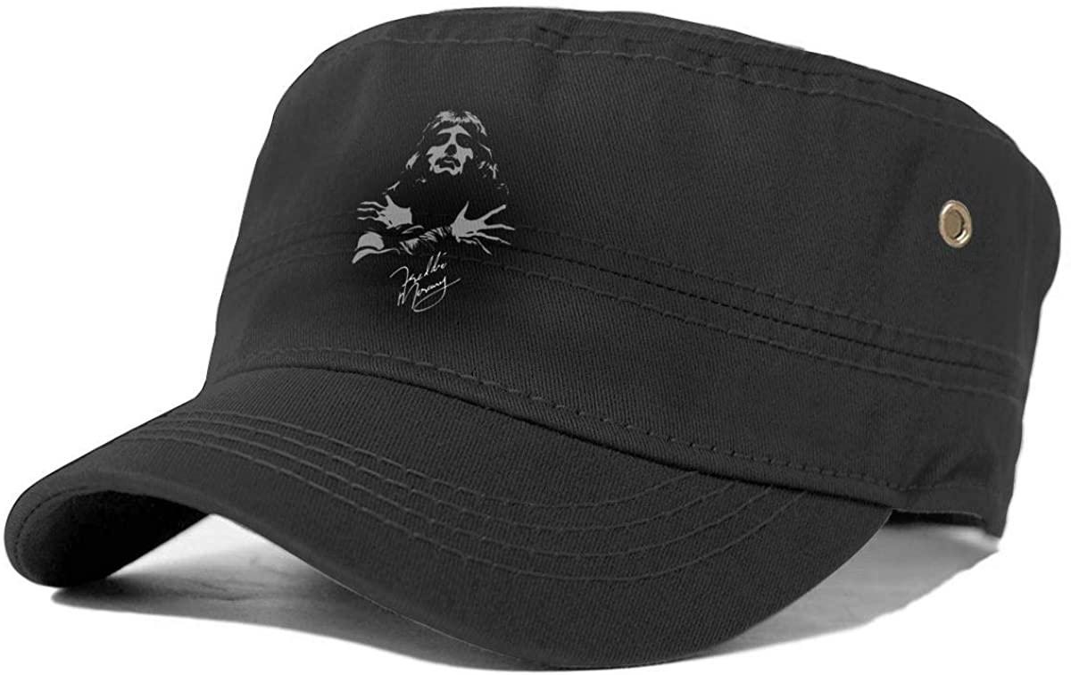 Freddie Mercury Queen Band Fashion Mens Womens Washed Cotton Cadet Cap Denim Army Military Hat Flat Top Hats Patrol Caps Baseball Cap