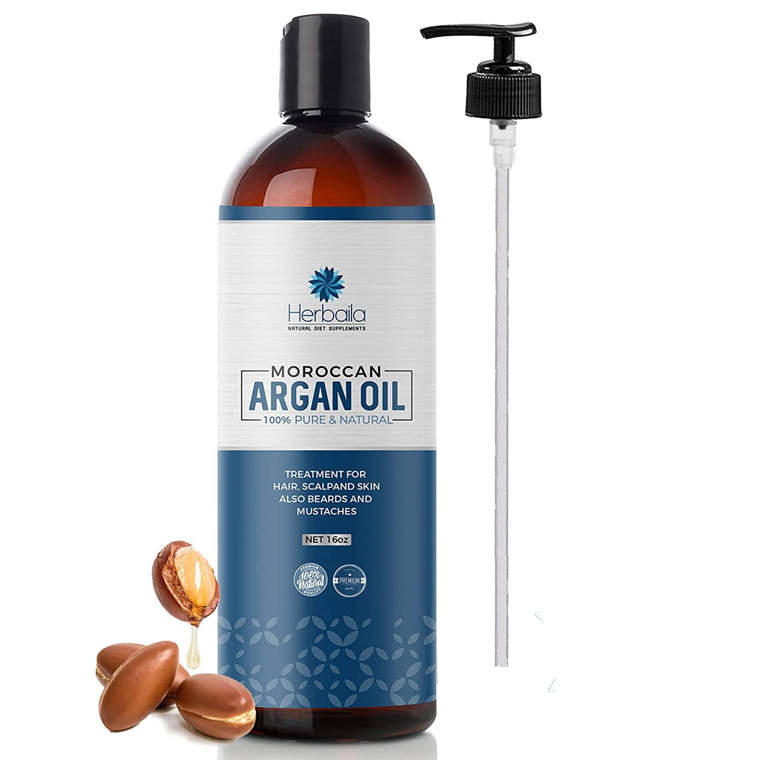 Moroccan Argan Oil 16oz, Cold Pressed Extra Virgin Oil for Hair, Skin, Face, Nails, Beard & Eyelashes, Anti-Aging Beauty Oil, 100% Pure Moisturizing Hair Growth Oil with Vitamin E