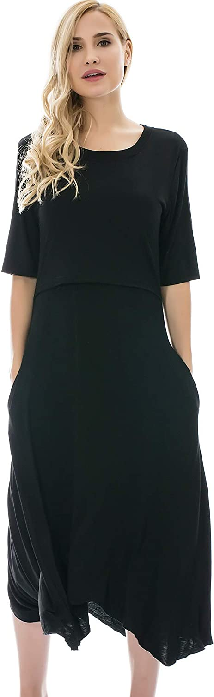 Bearsland Women's Maternity Nursing Dress 1/2 Sleeves Soft Breastfeeding Dresses Pockets