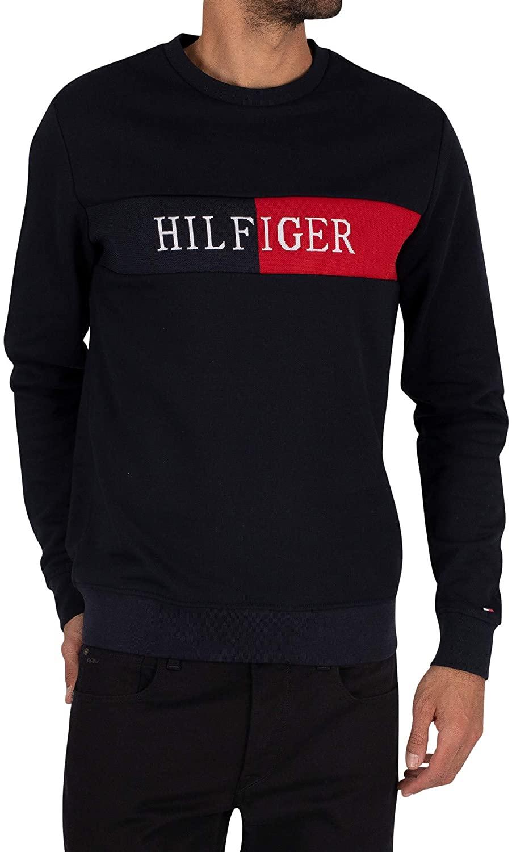 Tommy Hilfiger Men's Intarsia Sweatshirt, Blue, L