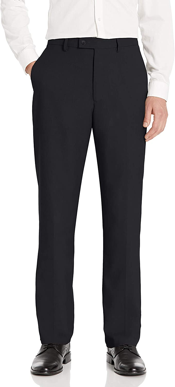 Haggar Men's Expandomatic Stretch Heather Classic Fit Plain Front Dress Pant