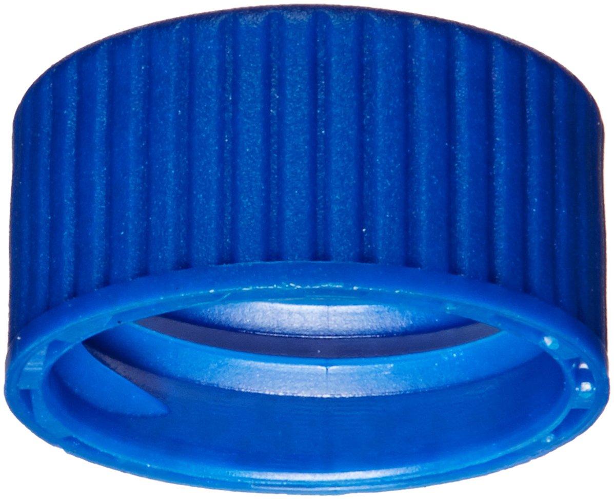 National Scientific C5000-51B Series C5000 Target DP 9mm Screw Thread Cap, Ivory PTFE/Red Rubber Septum, Blue (Pack of 100)