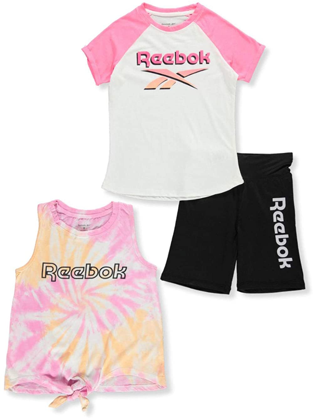 Reebok Girls' Raglan Logo 3-Piece Shorts Set Outfit