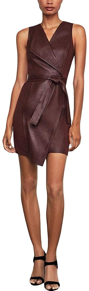 BCBGMAXAZRIA Women's Layla Asymmetrical Pleather Dress