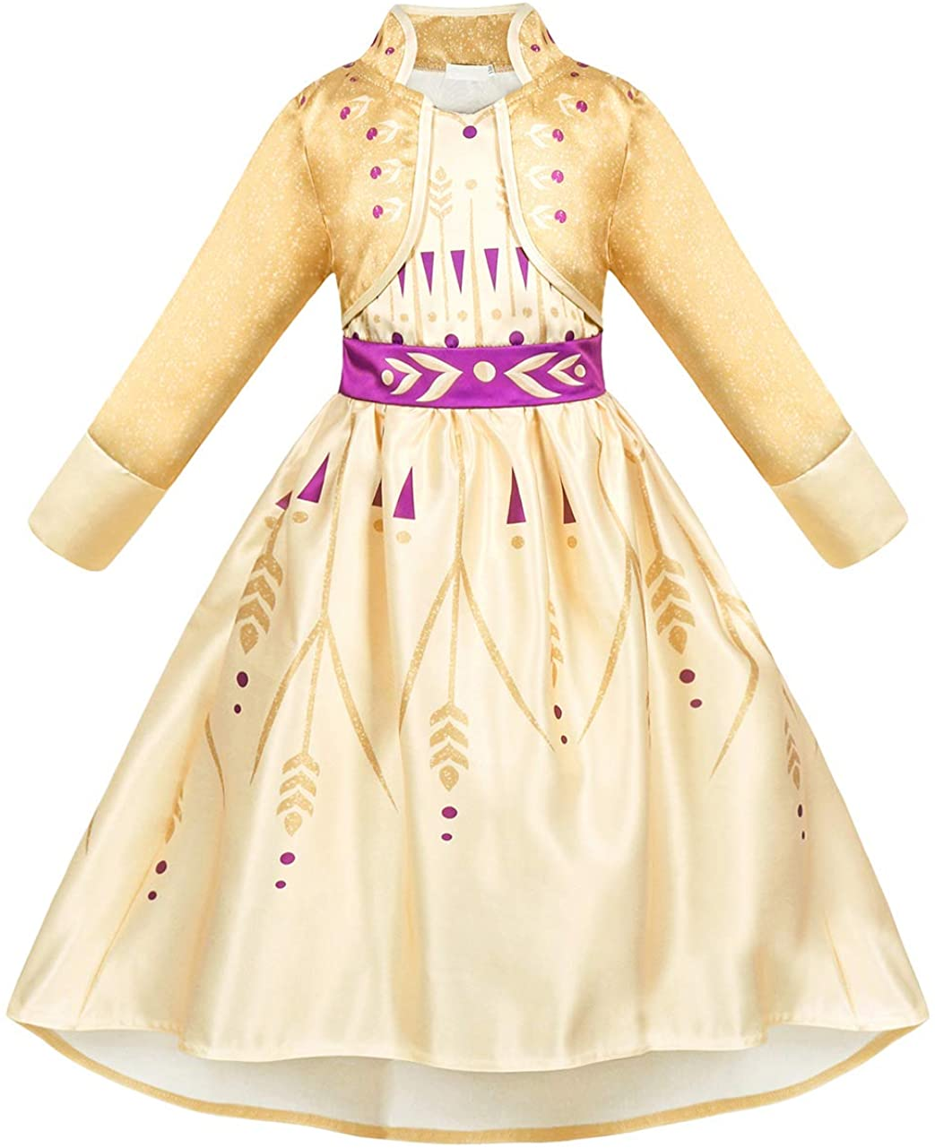 HenzWorld Girls Dresses Snow Princess Costume Party Halloween Cosplay Outfits Beige Kids 3-8 Years