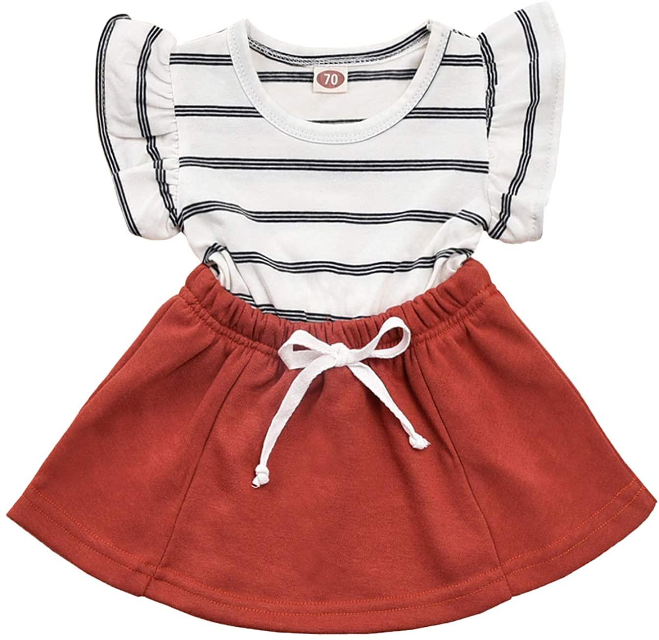 Kids Toddler Baby Girl Summer Dresses Ruffle Sleeve Stripe Princess Party Dress Sundress Clothes Set