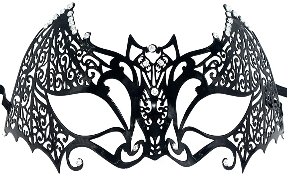 Partyfareast Black Metal Mask - New Bat Mask Laser Cut Half Face Eye Mask for Costume,Halloween,Masquerade Balls,Proms