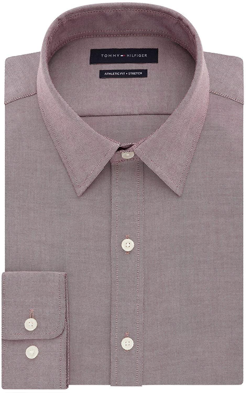 Tommy Hilfiger Mens Athletic Fit TH Flex Collar Dress Shirt 15 34/35 Aubergine