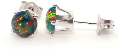 Trustmark 925 Sterling Silver 1.3ct 6mm Black Created Opal Cabochon Crown Set Stud Earrings, Aurora