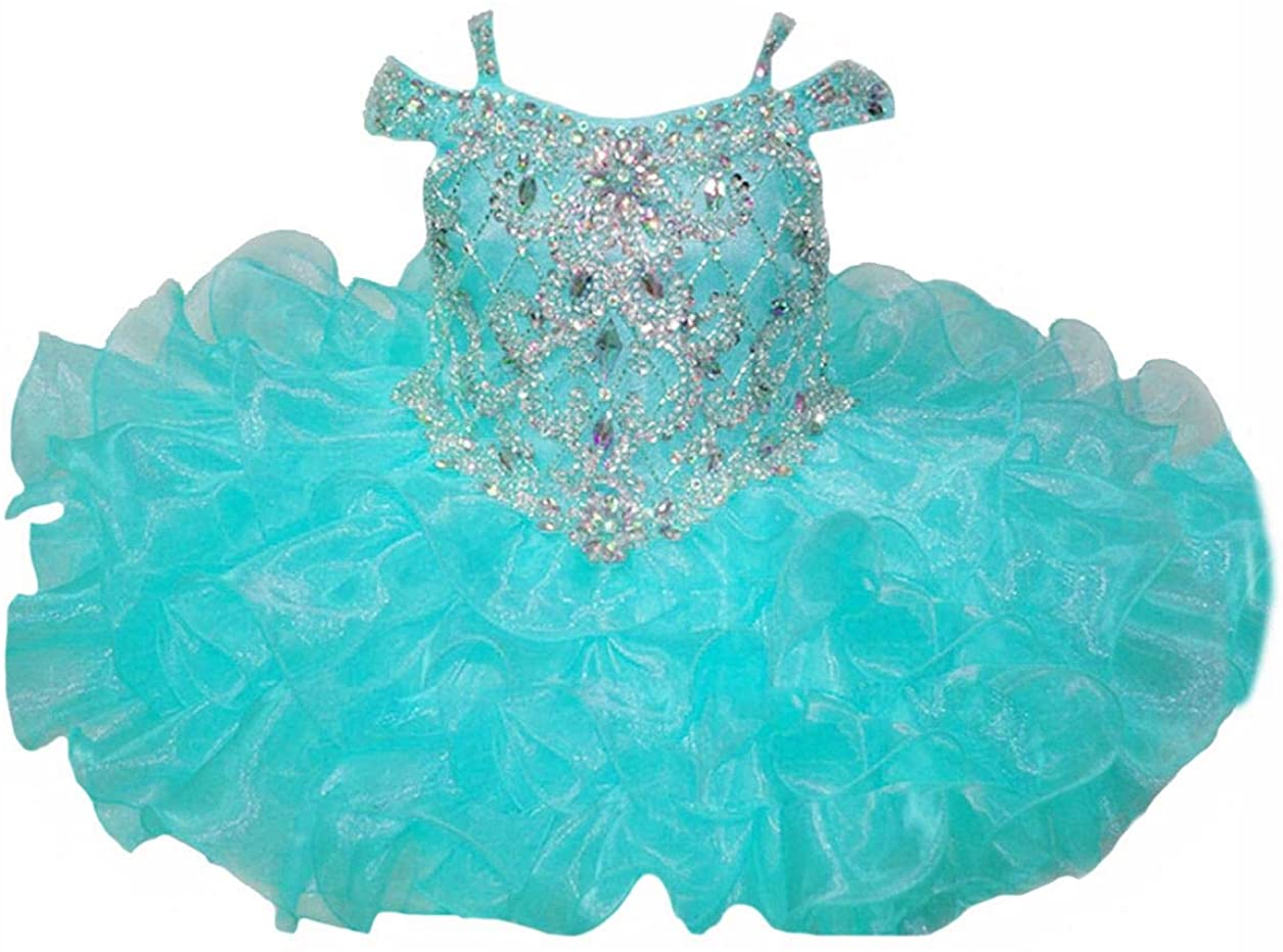 HuaiLian Baby Girls' Off The Shoulder Rhinestones Toddler National Pageant Cupcake Dresses