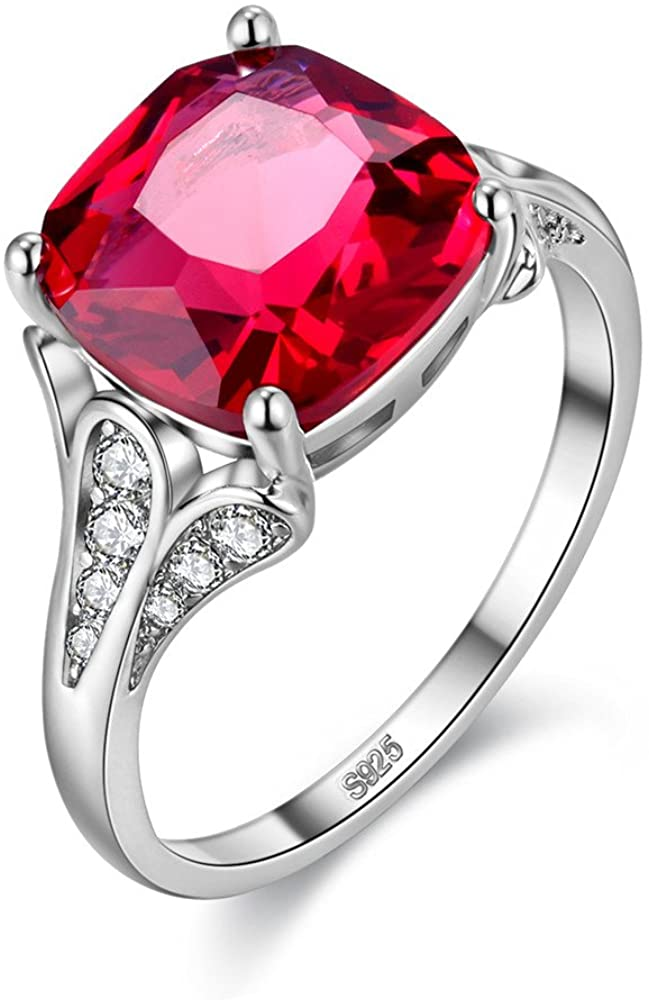 Uloveido Big Square Red Cubic Zirconia Cushion Cut Platinum Plated Solitaire Promise Ring Party Rings Women's Costume Jewelry Y146 (Choose Your Size 6 7 8 9)