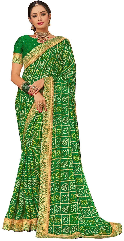 Indian Saree for Women Ethnic Sari Light Greem Sari with Unstitched Blouse. ICW2642-8