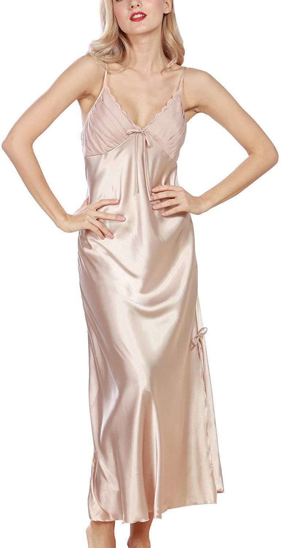 Womens Nighties Satin,Lace Sexy Nightwear Ladies Soft Silky Pyjamas Luxury Lingerie Spaghetti Gold