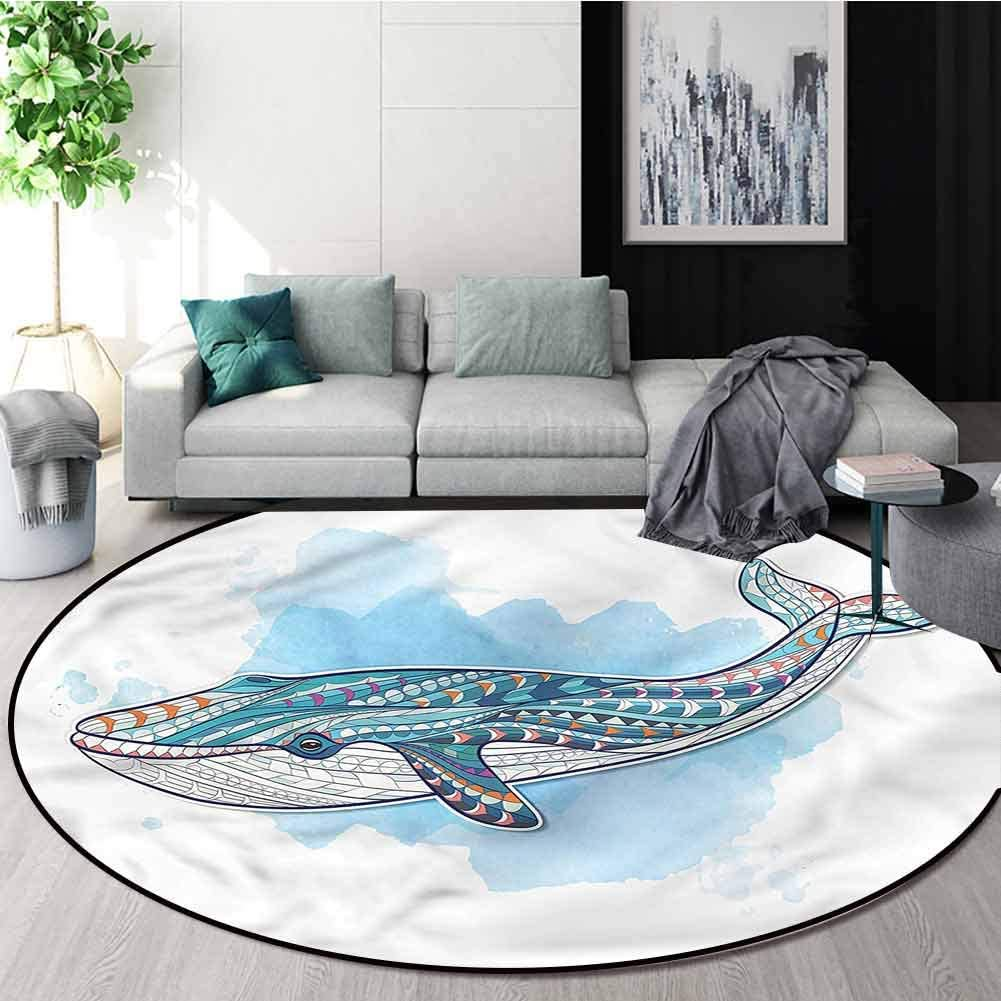 RUGSMAT Whale Round Area Rug,Tribal Tattoo Style Ornaments Carpet Door Pad for Bedroom/Living Room/Balcony/Kitchen Mat Diameter-35