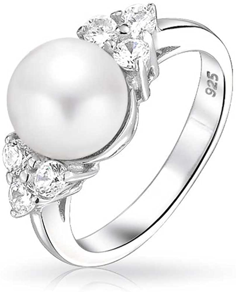 Bridal Party CZ Side Stones White Solitaire Freshwater Cultured Pearl Engagement Ring For Women 925 Sterling Silver