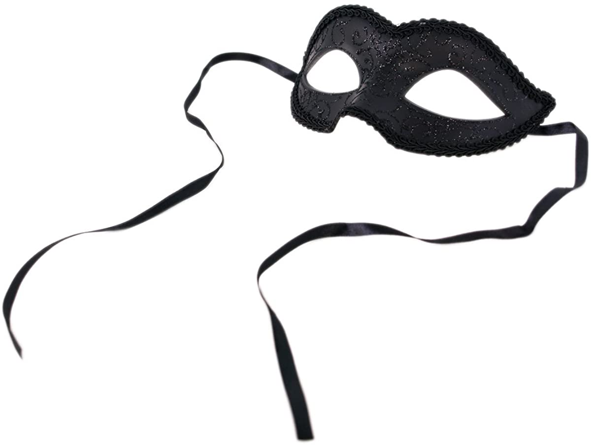 TrendsBlue Unisex Black Venetian Mardi Gras Masquerade Costume Mask, v5 (31040)