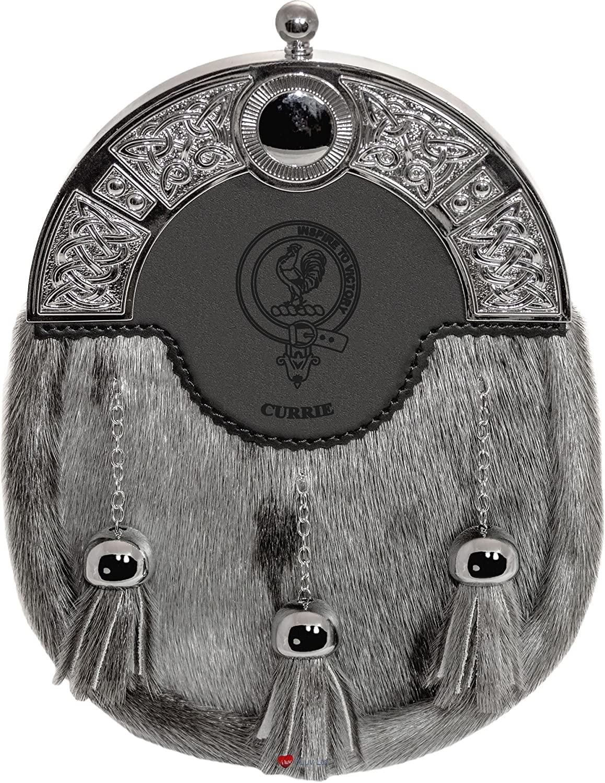 Currie Dress Sporran 3 Tassels Studded Targe Celtic Arch Scottish Clan Name Crest