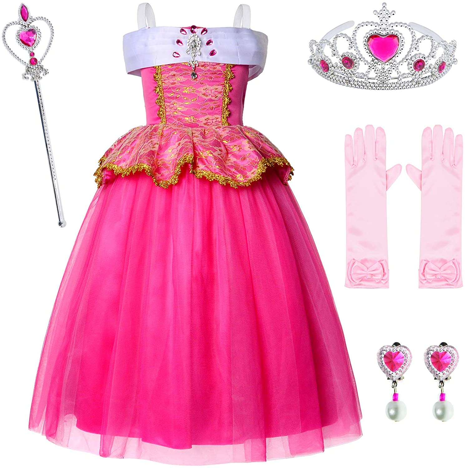 Joy Join Deluxe Princess Pink Dress Costume for Girls Birthday Party with Gloves Earrings Crown and Wand