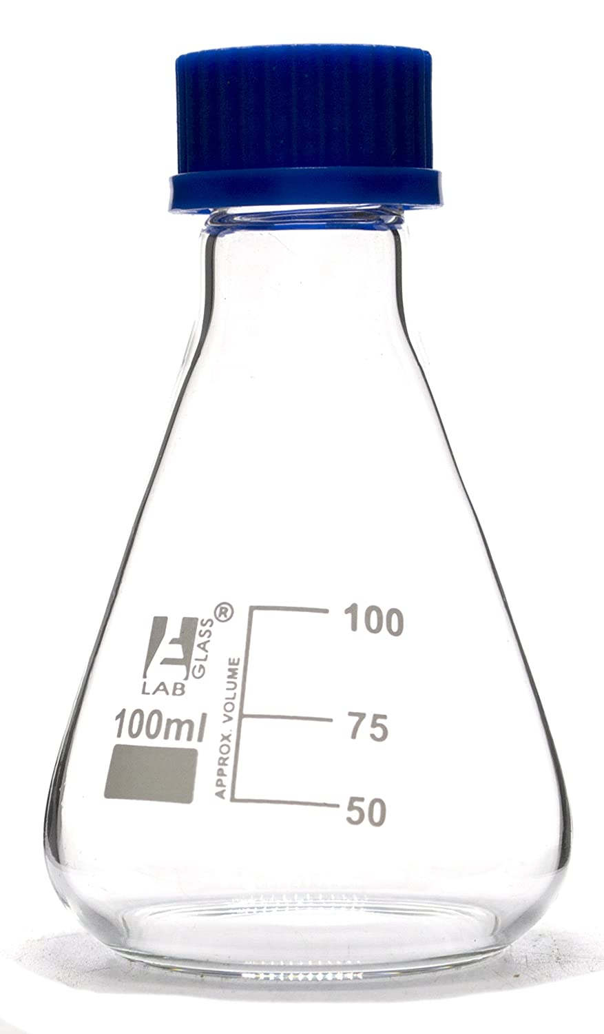 Erlenmeyer Flask, 100ml - Borosilicate Glass - with PTFE Screw Cap - Conical Shape - White Graduations - Eisco Labs