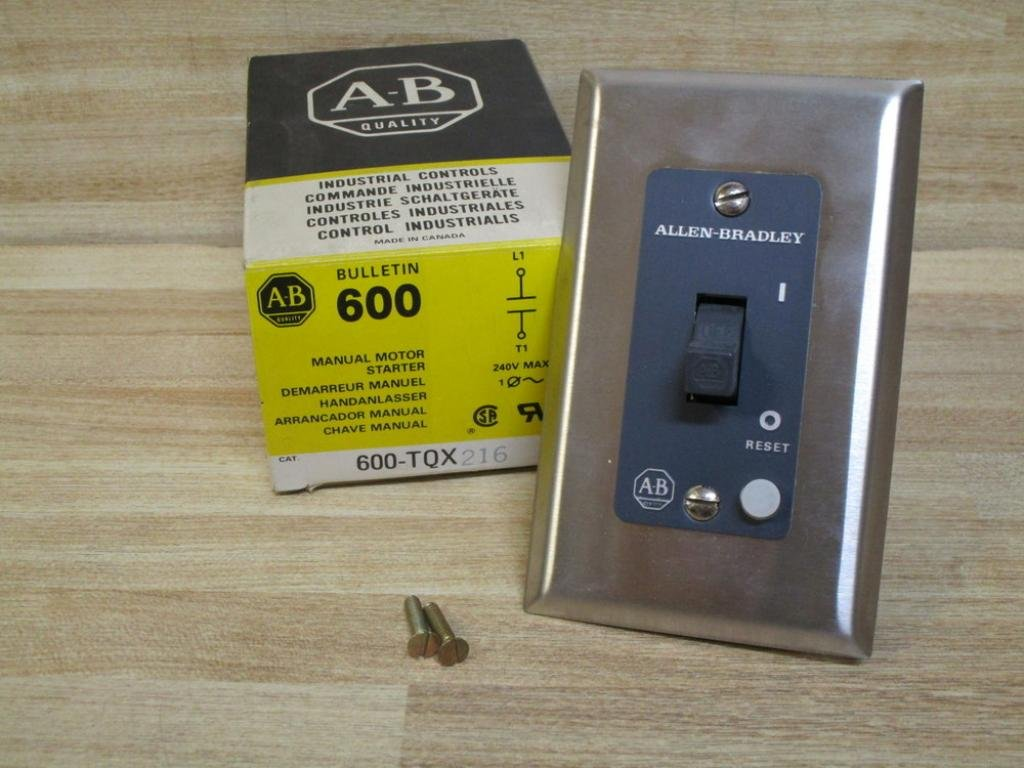 ALLEN BRADLEY 600-TQX216 Type 1 General Purpose Enclosure, Toggle Type, with Stainless Steel Flush Plate, Flush MOUNTING, Manual Starting Switch