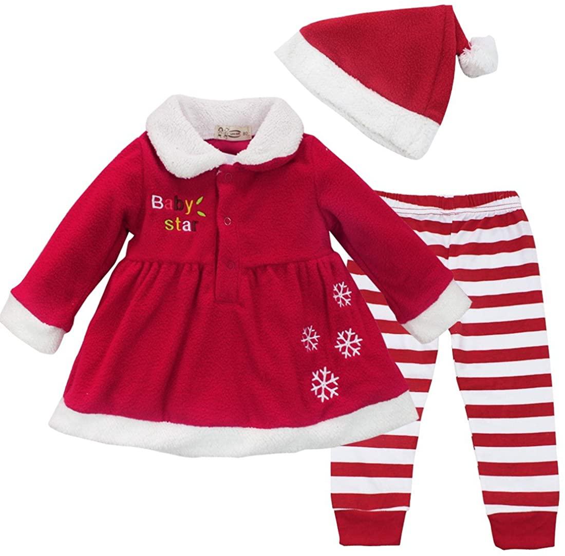 iEFiEL Baby Girls Festive Snowflake Santa Dress Candy Stripe Leggings Hat Set