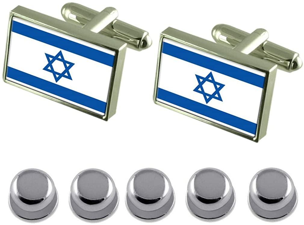 Select Gifts Shirt Dress Studs Israel Flag Cufflinks