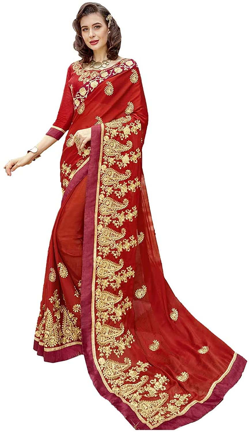 Saree for Women Bollywood Wedding Designer Georgette, Rangoli Sari with Unstitched Blouse. Red