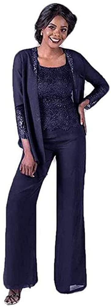 Women's Navy Blue 3 Pieces Elegant Lace Mother of The Bride Pant Suits Wedding Plus Size Suit US16