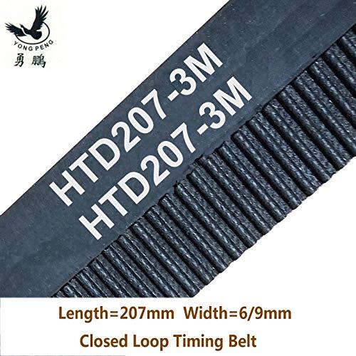 Ochoos 207 HTD3M Timing Belt Teeth 69 Width 6mm 9mm 15mm Length 207mm Rubber Closed-Loop Belt 207-3M 6 HTD 3M Pulley CNC Machine - (Width: 9mm, Number of Pcs: 2pcs)