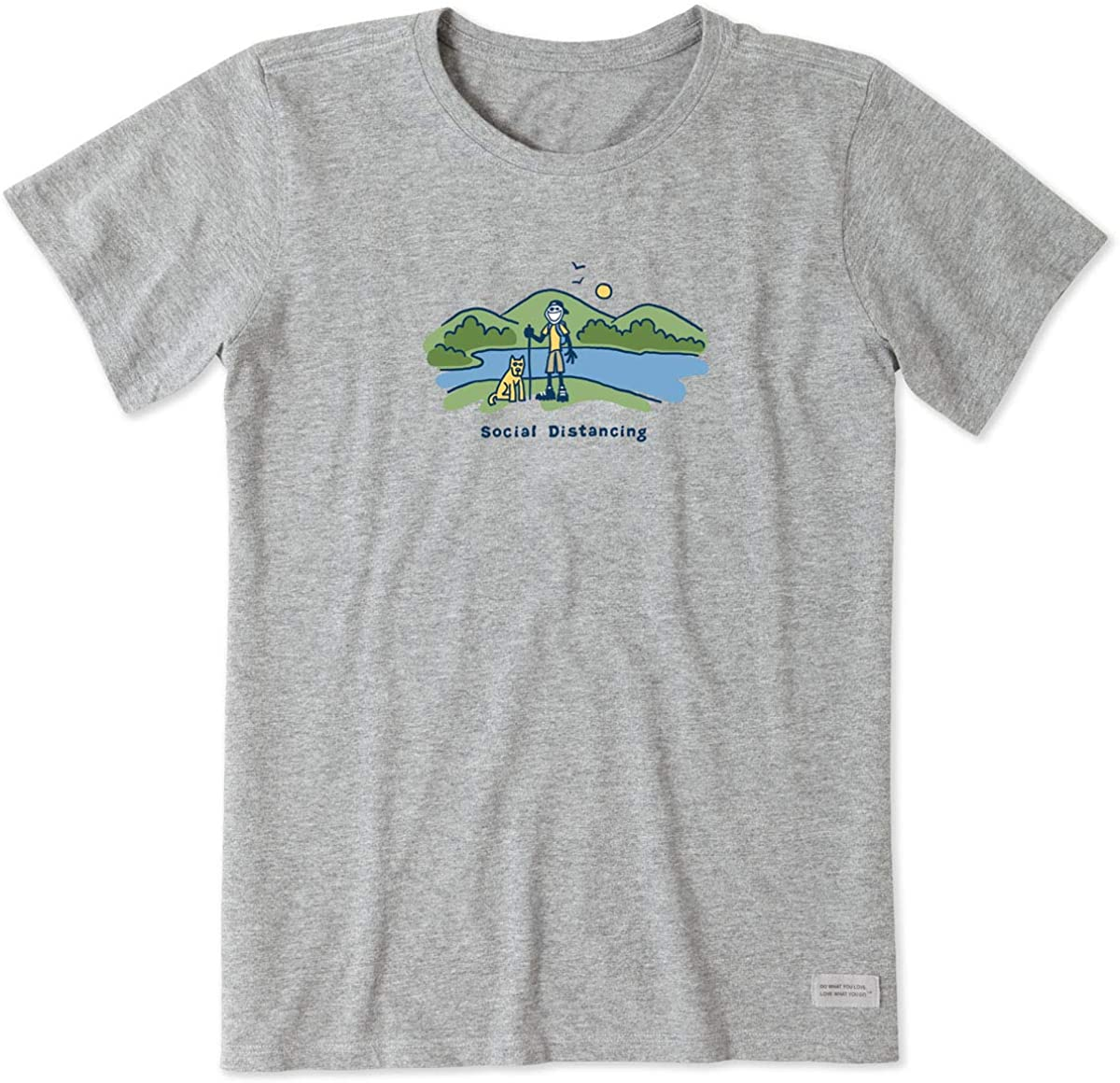 Life is Good Women's Jake and Rocket Social Distancing Crusher Tee, 2XL-Heather Gray